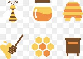 Flat Design Honey And Honey - Honeycomb Honey Bee PNG