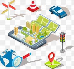 Mobile Maps App - Mobile App Global Positioning System Illustration PNG