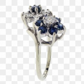 Pearl And Sapphire Flower Ring - Sapphire Engagement Ring Jewellery Diamond PNG
