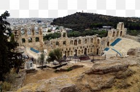 Greece Acropolis - Acropolis Of Athens Theatre Of Dionysus Odeon Of Herodes Atticus U77f3u725bu5be8 Tourism PNG