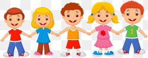 Friends Hand In Hand - Cartoon Child Drawing Royalty-free PNG
