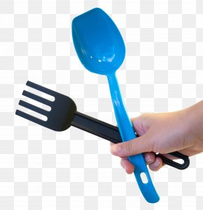 Hand Holding Fork And Spoon - Fork Wooden Spoon Knife PNG