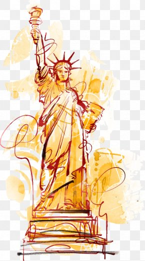 Vector Hand-painted Statue Of Liberty - Statue Of Liberty Cartoon Illustration PNG