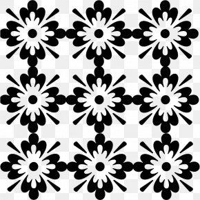 Floral Pattern - Black And White Floral Design Clip Art PNG