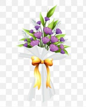 Purple Flowers Flower Bouquet - Flower Bouquet Clip Art Floral Design PNG