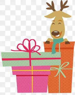 Colorful Christmas Gift - Reindeer Christmas Gift Illustration PNG