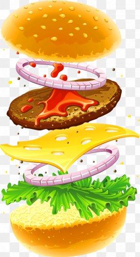 Yellow Simple Burger Decoration Pattern - Hamburger Veggie Burger Fast Food Cheeseburger French Fries PNG