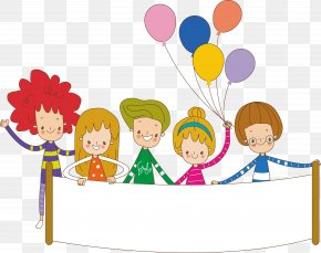 Vector Cartoon Kids Get Balloon Material - Child Cartoon PNG