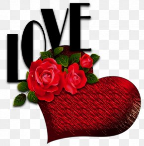 Red Heart With Roses And Love Picture - Red Roses Heart Love Flower PNG