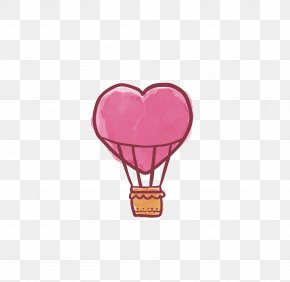 Love Hot Air Balloon - Valentine's Day Love Heart PNG