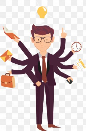 Busy Cartoon Business People - Job Business Employment Entrepreneurship PNG
