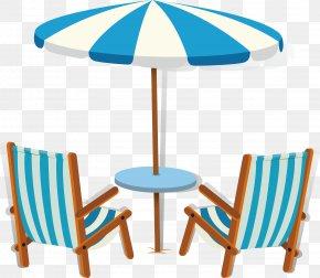 Blue And White Stripes A Parasol - Euclidean Vector Chair Beach Illustration PNG