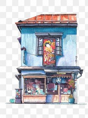 Japanese Flower Shop - Tokyo Watercolor Painting Illustrator Artist Illustration PNG