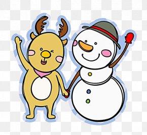 Hand-painted Deer And Snowman - Snowman Clip Art PNG
