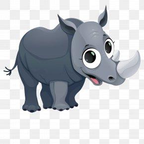 Vector Small Rhino - Giraffe Cartoon Fauna Of Africa Illustration PNG