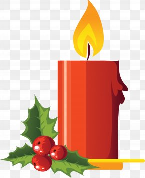 Candle Image - Christmas Decoration Holly Clip Art PNG
