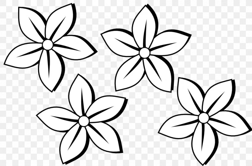 Black And White Flower Clip Art Png 999x659px Black And White Area Black Color Drawing Download