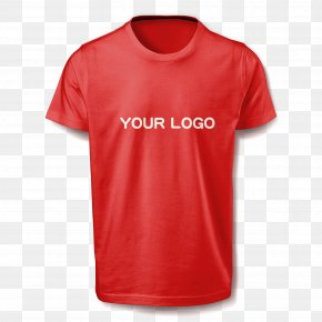 Interchangeable Logo Red T-shirt - Printed T-shirt Red Sleeve PNG