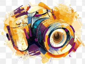 Vector Watercolor Effects Camera - Camera Drawing Photography Clip Art PNG
