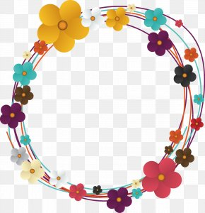 Colorful Flower Color - Flower Euclidean Vector Circle Clip Art PNG