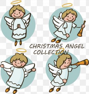 Hand Drawn Cute Little Angel - Angel Christmas Coloring Book Nativity Scene Clip Art PNG