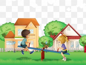 Children Playing On The Seesaw In The Grass - Child Play Stock Illustration Illustration PNG