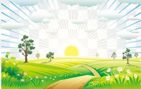 Sunrise Landscape - Nature Landscape Euclidean Vector PNG