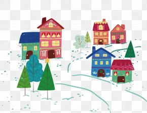Vector Snow Village - Snow Winter PNG