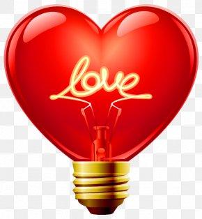 Love Heart Bulb Clipart - Heart Light Clip Art PNG