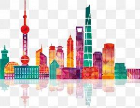Colorful Shanghai City Building Silhouettes - Shanghai Skyline Illustration PNG