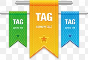 Vector Hand-painted Hanging Flags Tags - Ribbon Banner Euclidean Vector Textile PNG