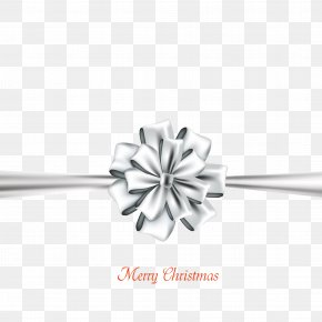 Silver Bows Christmas Card Vector Material - Ribbon Christmas Silver PNG
