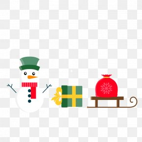 Vector Snowman With Gift - Christmas Gift Snowman PNG