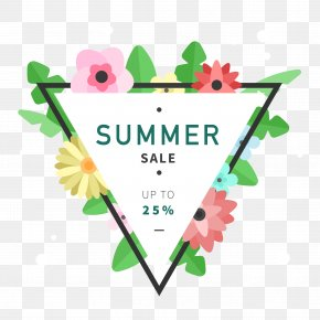 Personality Summer Flower Decoration Triangle Background - Flower Triangle Designer Euclidean Vector PNG