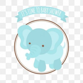 Baby Shower Cards And Blue Elephant - African Bush Elephant Infant Elephantidae Baby Shower PNG