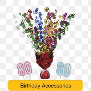 80th Birthday Party - Birthday Party Toy Balloon Centrepiece PNG