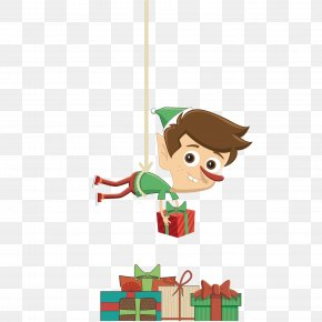 Elf And Gifts - Christmas Elf Santa Claus Gift Illustration PNG