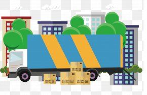 Striped Truck Vector - Transport Royalty-free Illustration PNG