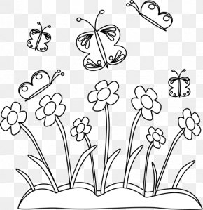 Flowers Black And White Clipart - Black And White Clip Art PNG