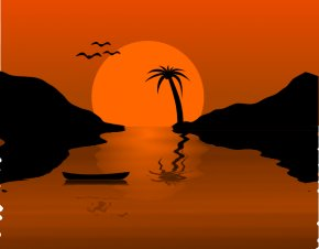 Fisher Cliparts - Sunset Clip Art PNG