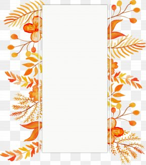 Watercolor Orange Hand Painted Leaves Border - Orange Euclidean Vector Flower Color PNG