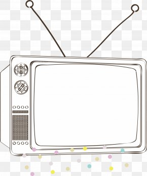 Retro TV Frame - Cartoon Television Black And White PNG