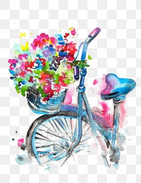 Bicycle - Watercolor Painting Drawing Illustration PNG