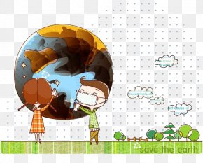 Cartoon Doodle Earth - Earth Globe Wallpaper PNG