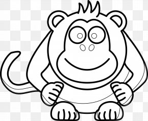 Cartoon Computer - Drawing Black And White Monkey Clip Art PNG