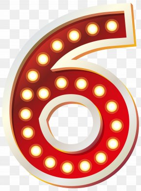 Red Number Six With Lights Clip Art Image - Number Clip Art PNG