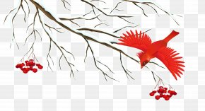 Winter Snowy Branch With Bird Clipart Image - Winter Icon PNG