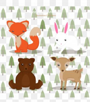 Cute Forest Animal Vector - Red Fox Animal Forest PNG