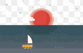Vector Hand Painted Sailboat Sun PNG