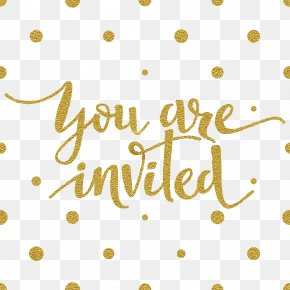 Gold Letters And Dots - Wedding Invitation Greeting Card Illustration PNG